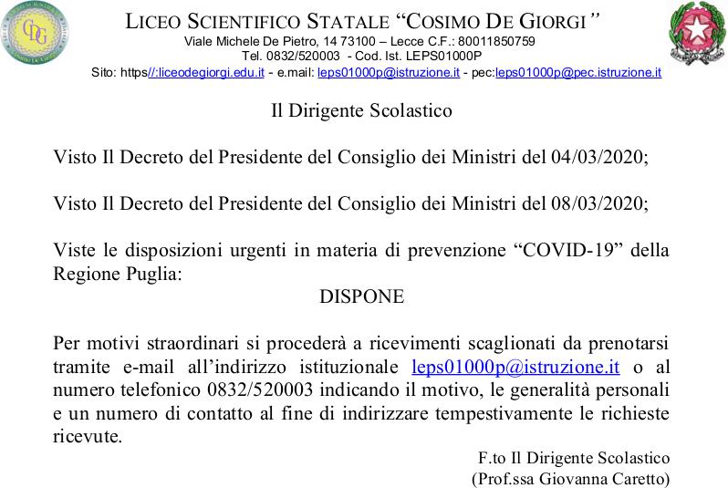 Disposizioni urgenti COVID-19