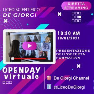Open Day in diretta streaming il 10/1