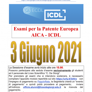 3 giugno 2021 sessione esame ICDL