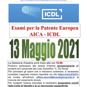 Sessione Esame ICDL 13.05.2021
